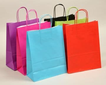 """TWIST HANDLE RIBBED PAPER CARRIER BAGS BLOCK BOTTOM - 12½""""x 5½"""" x 16¼"""""""